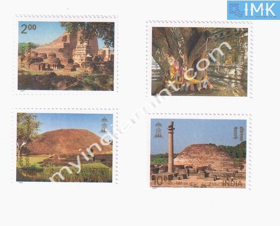 India 1997 Buddhist Cultural Sites 4v Broken Setenant MNH