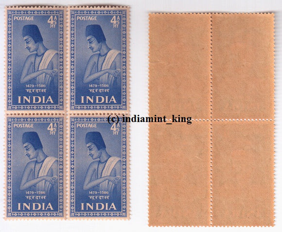 India 1952 Surdas MNH (Block B/L 4) Saints & Poets