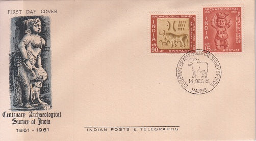 India 1961 Archaeological Survey 2v Set (Fdc)