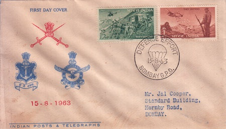 India 1963 FDC Defence Campaign 2v set (FDC)