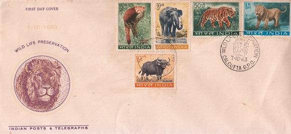 India 1963 Wild Life Set of 5v FDC Rare #F1