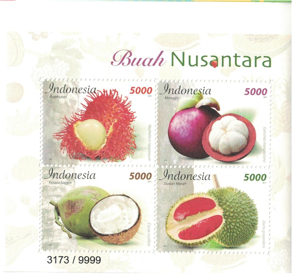 Indonesia 2017 Indonesian Fruits Ms Embossed on stamp