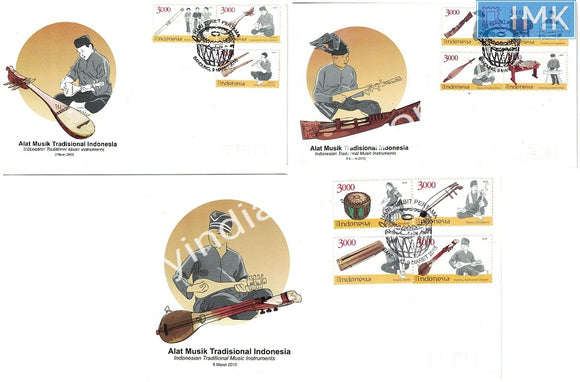 Indonesia 2015 Set of 3 FDC on Traditional Musical Instruments with one Brochure