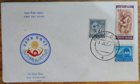 India 1966 4th Definitive Series 3v cover Mediaeval Sculpture Rare (FDC) #SP20