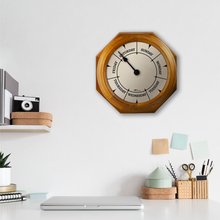 Load image into Gallery viewer, DayClocks Day-of-the-Week Wall Clock with Oak Wood Frame