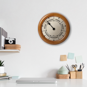 DayClocks Day-of-the-Week Wall Clock with Pine Wood Frame