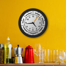 Load image into Gallery viewer, DayClocks Modern Black Day-of-the-Week Wall Clock