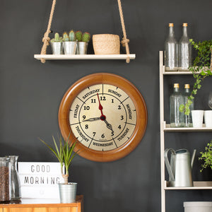 DayClocks Combination Day-of-the-Week Wall Clock with New Zealand Pine Wood Frame