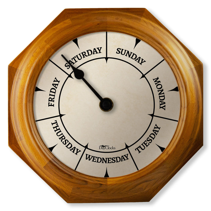 wood Wall clock with day of the week