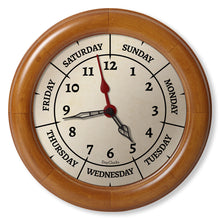 Load image into Gallery viewer, wood Wall clock with day of the week