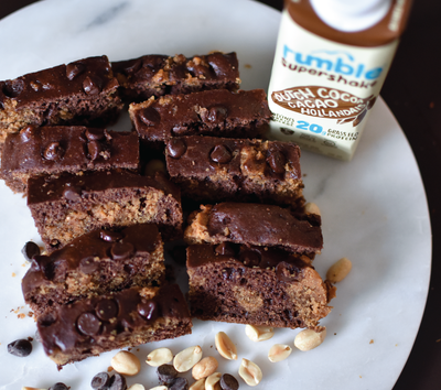 Treat Yourself with Rumble Chocolate Peanut Butter Brownies