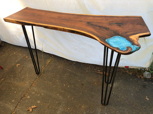 Hairpin legged Live Edge Entry Way Table