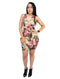 Beige Bodycon Mini Dress V-Neck Floral Print Short Sleeve