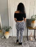 Black And White Zebra Print Jeggings Jeans