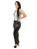 Black High Waist Tapered Trousers Ankle Tie Pants