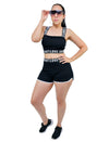 Running Shorts and letter print strap crop top sports bra matching co ord sets
