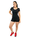 Black Women Basic Summer Short Sleeve Cami Romper With Scoop Neck