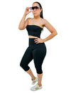 Black Women Strapless Biker Length Summer Romper With Cut Out Front