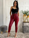 Burgundy High Waisted Paperbag Faux Leather Pants With Pocket