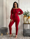 Burgundy Off Shoulder Bodycon Zipper Front Jumpsuit Ruched Sleeves