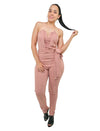 Dusty Pink Dressy jumpsuit Strapless Bandeau V-Neck