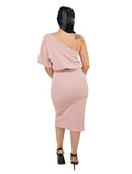 Dusty Pink Midi Dress One Shoulder Bodycon With Front Split Tie Waist