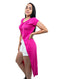 Fuchsia Long Line Split Front Top Shirt V-Neck Short Sleeve Wrap Look