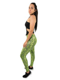 Green Snakeskin Leggings Crop Ankle Mid Waist For Women