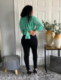 Mint Long Sleeve Crop Top Tie Back High Neck
