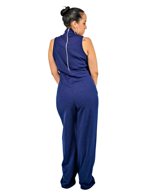 Navy High Neck Sleeveless Womens Dressy Jumpsuit Party Wear
