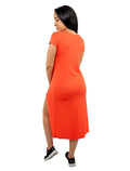 Orange  Long Line Split Front Top Shirt V-Neck Short Sleeve Wrap Look
