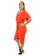 Orange Midi Dress One Shoulder Bodycon With Front Split Tie Waist