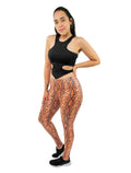 Orange Snakeskin Leggings Crop Ankle Mid Waist For Women