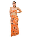 Orange Two Piece Tie Front Top Bra And Maxi Skirt Matching Sets Outfits