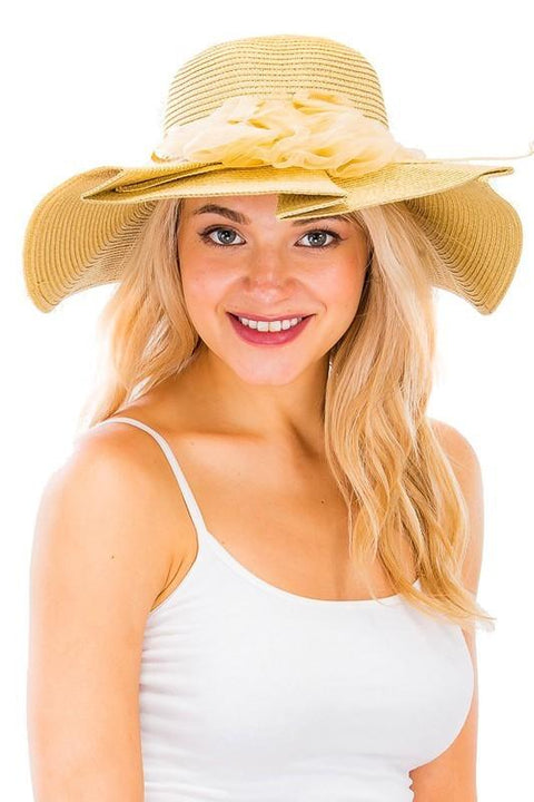 Overlap stitch ruffle straw beach summer sun hat With Tulle Center Piece Flower for women