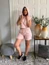 Pink Crop Top Hoodie And Shorts Co Ord Matching Sets