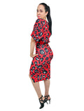 Red Leopard Print Batwing Midi Dress Front Wrap Waist Tie
