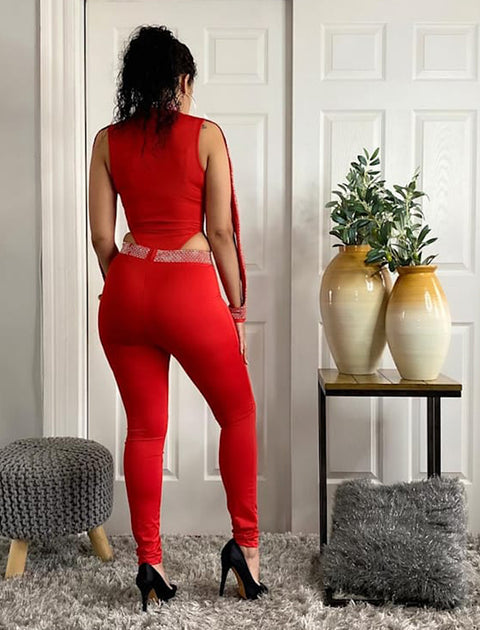Mock Turtleneck Long Sleeve Embellished Bodysuit Matching Pants Set