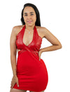 Red Summer Casual Sleeveless Bodycon Mini Dress Faux Leather Neck