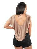 Cappuccino Round Neck Short Sleeve Crop Top Shirt Bi Color With Valance