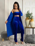 Royal Blue High Waisted Pants Bandeau Top Long Open Front Cardigan 3 Piece Outfit Set