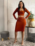 Rust Ribbed Knit  Long Sleeve Crop Top And Skirt Set
