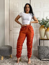 Rust Sporty Jogger Pants Ruched Leg