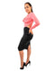 Salmon Color Block Cowl Neck Long Sleeve Shift Casual Midi Backless Dress