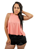 Solid Salmon Crop Top Sleeveless Round Neck