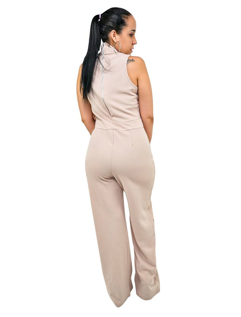 Stone High Neck Sleeveless Womens Dressy Jumpsuit Party Wear