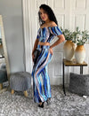 Striped Tie Dye Ruched Top And High Waisted Flare Pants Matching Sets Outfits