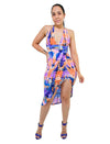 Tie Dye Asymmetrical Midi Dress Spaghetti Strap With Cross Back