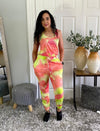Co Ord Tie Dye Sleeveless Rib Vest And Matching Jogger Loungewear Sets