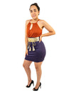 Tie Neck Two Tone Sleeveless Summer Mini Dress With Gold Belt